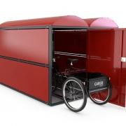Fahrradgarage BikeBox 2 mit eingestelltem Cargobike