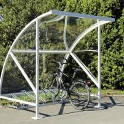 Überdachung Modell Bamberg mit Fahrradständern und eingestelltem Fahrrad