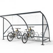 Überdachung Modell Bamberg mit Fahrradständern und eingestellten Fahrrädern