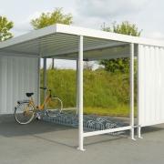 Überdachung Leipzig mit Fahrradständern in zweiseitiger Ausführung