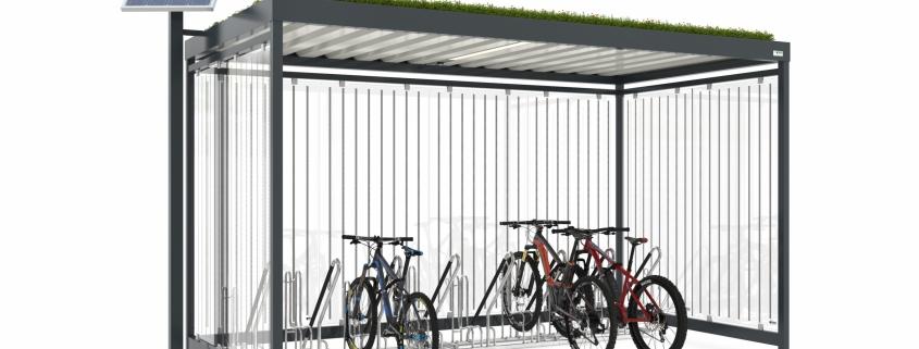 Fahrradüberdachung mit Dachbegrünung und Photovoltaikanlage