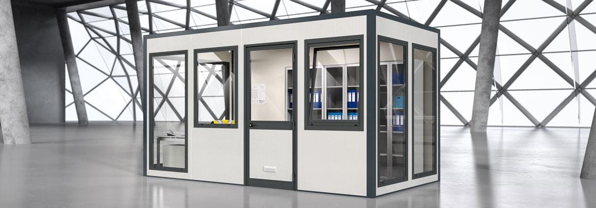 Raumsystem SmartUnit als Büroraum in Lagerhalle